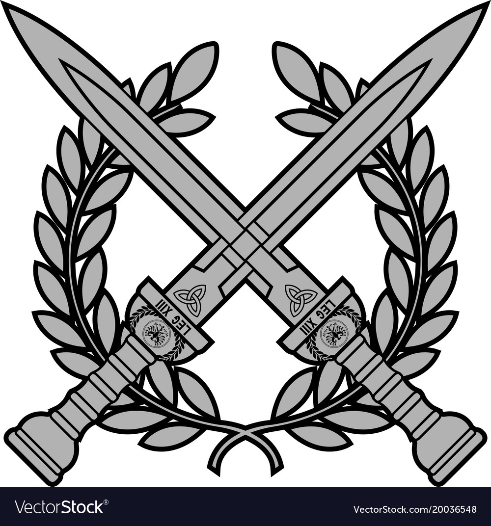 Roman Swords With Laurel Wreath Vector Image