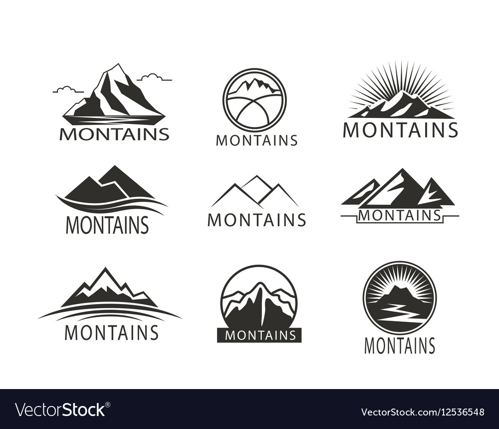 Set of logo Icon Montains in black white Climbing vector image