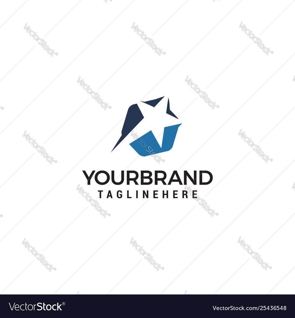 Star fast logo design concept template