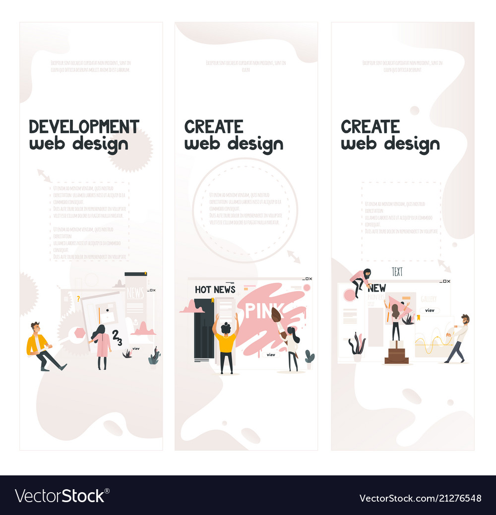 Web design development concept on vertical banners
