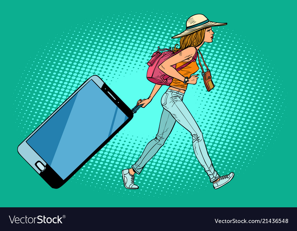 Woman traveler with a smartphone gadget instead