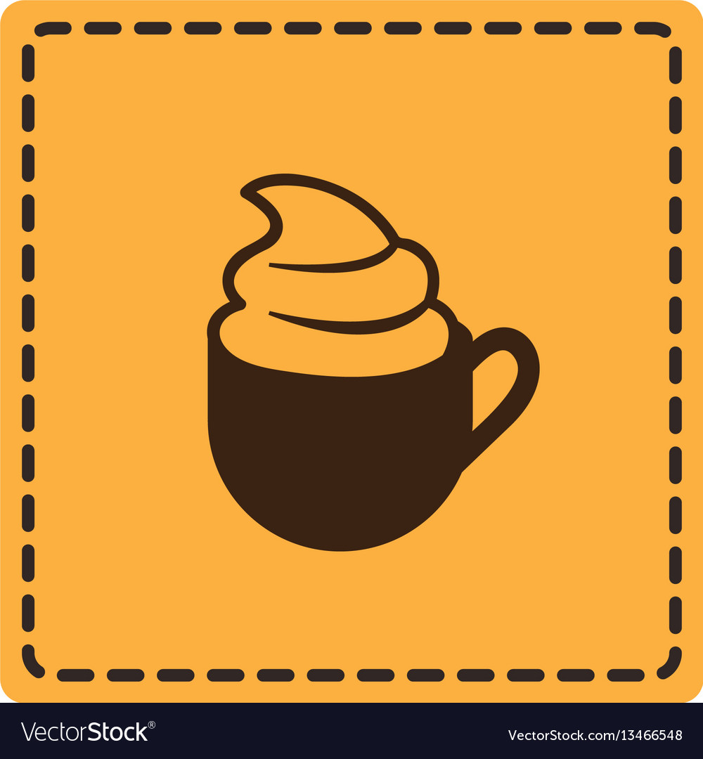 Yellow emblem cup coffee with cream icon