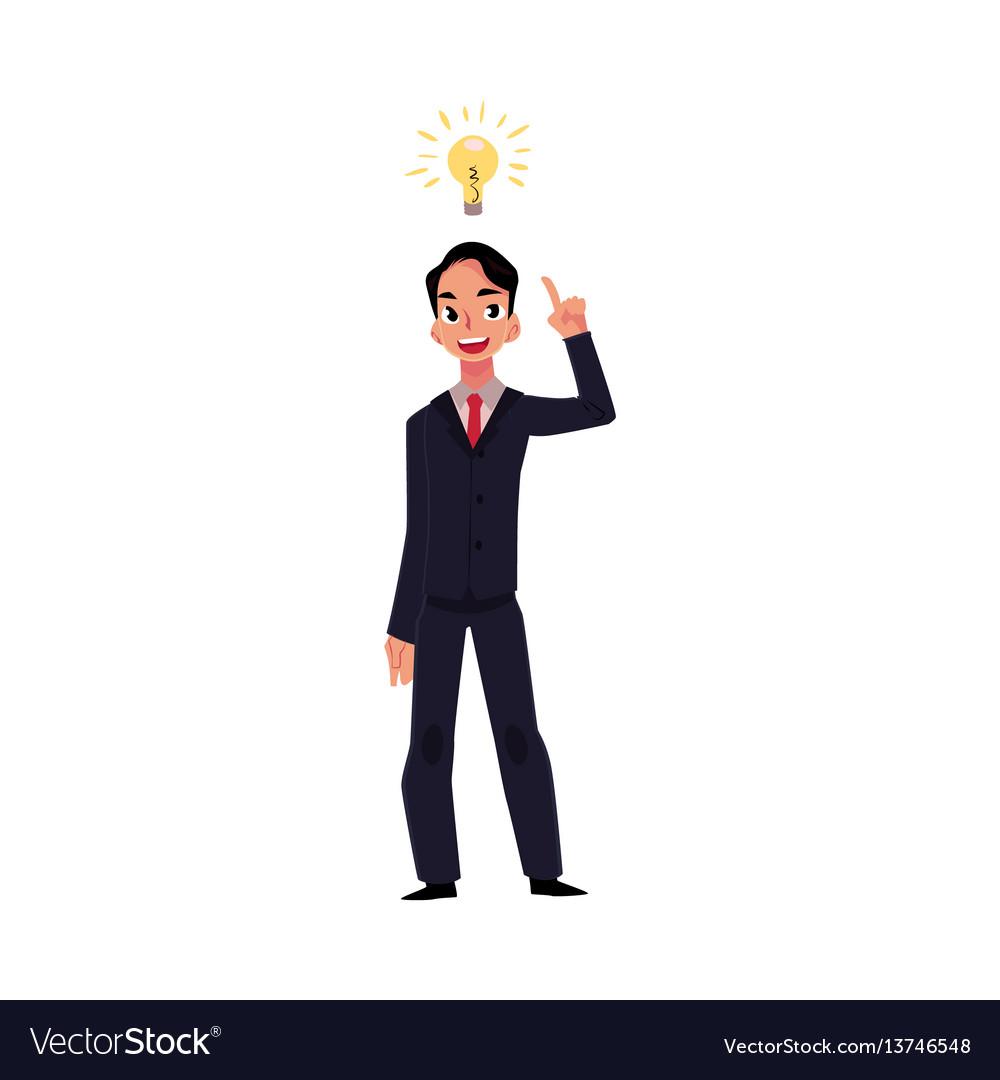 Young businessman having idea lightbulb as symbol
