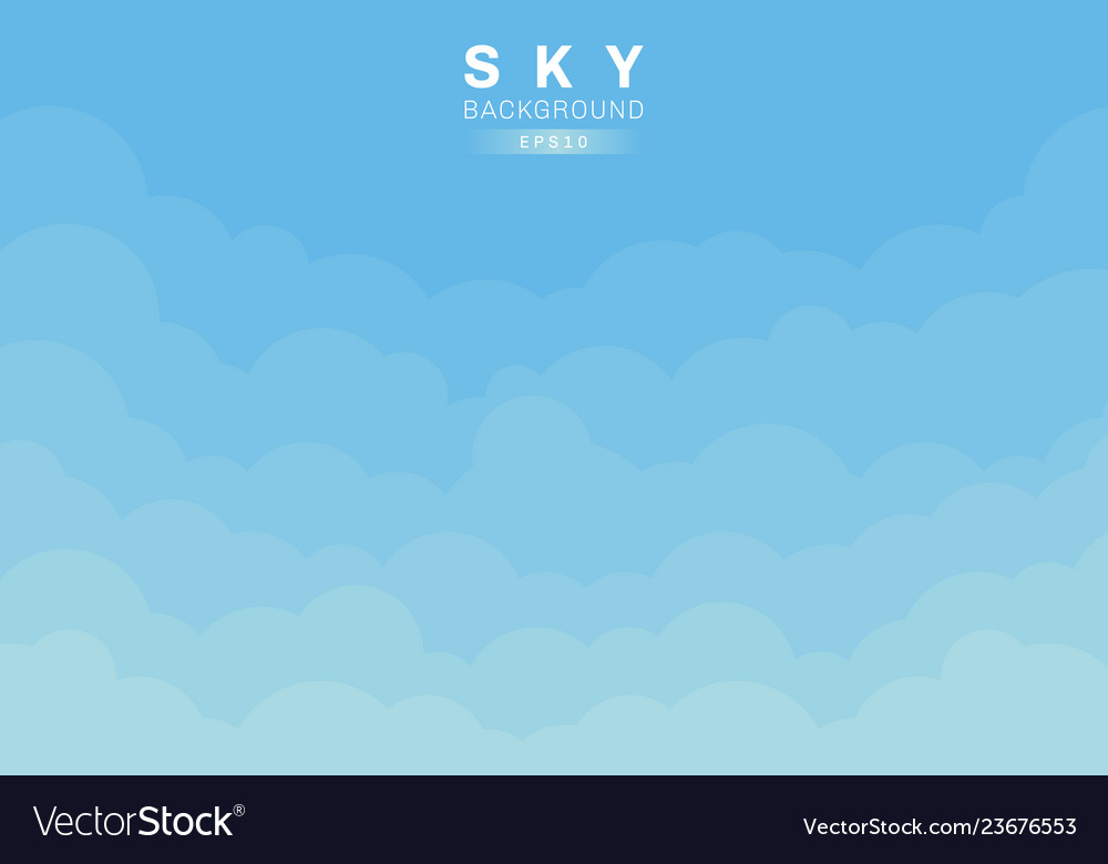 Blue sky and clouds background paper cut style