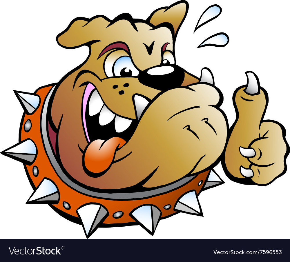 Cartoon of an excited Bull Dog giving Thumb Up