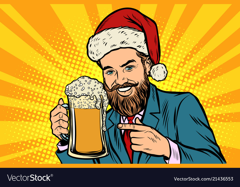 Christmas and new year smiling man with a mug of