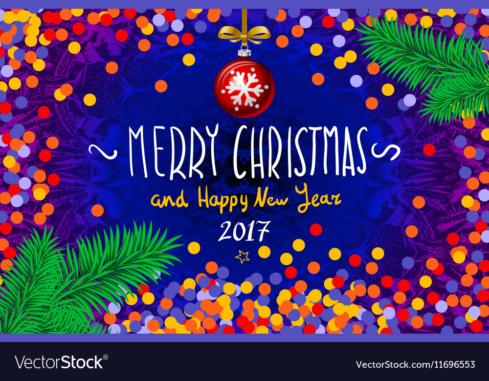 Christmas card with confetti Merry Christmas and