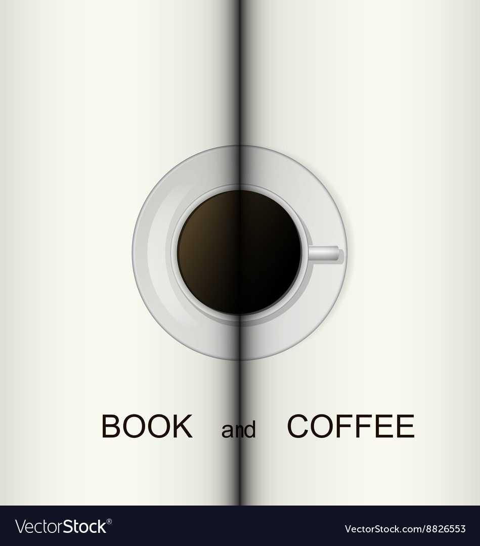 Cup of coffee on a opened book