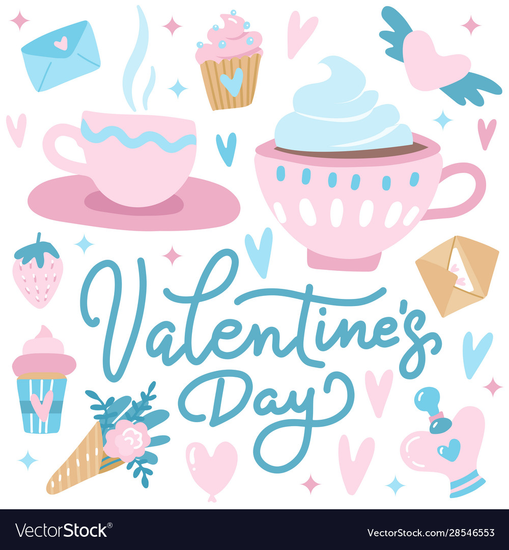 Cute valentine s day greetings card with hearts
