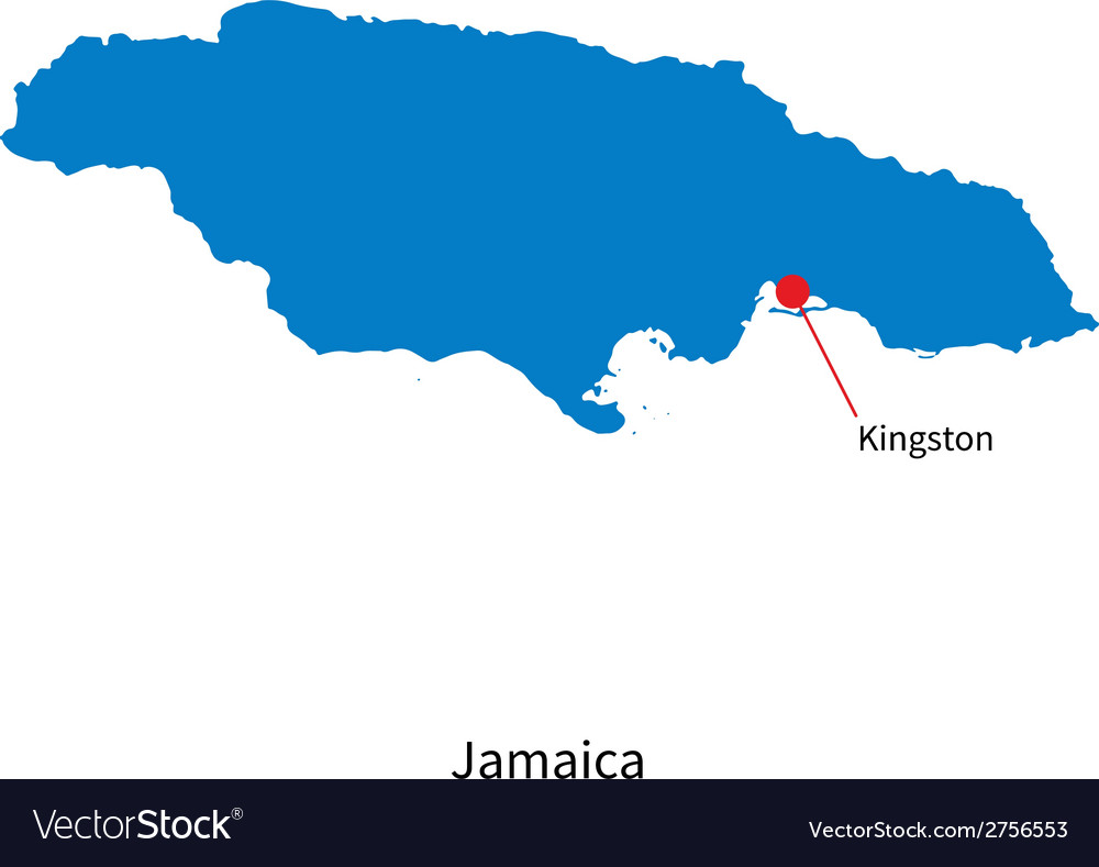 Detailed map of Jamaica and capital city Kingston Vector Image