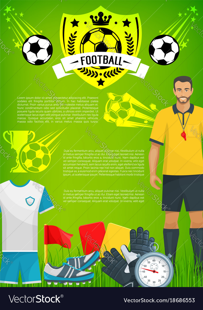 Football sport game banner with soccer club badge vector image