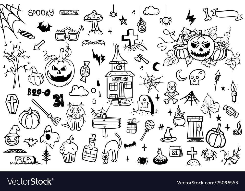 Hand drawn doodle cartoon collection set