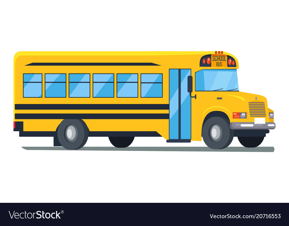 Icon of school bus isolated on white