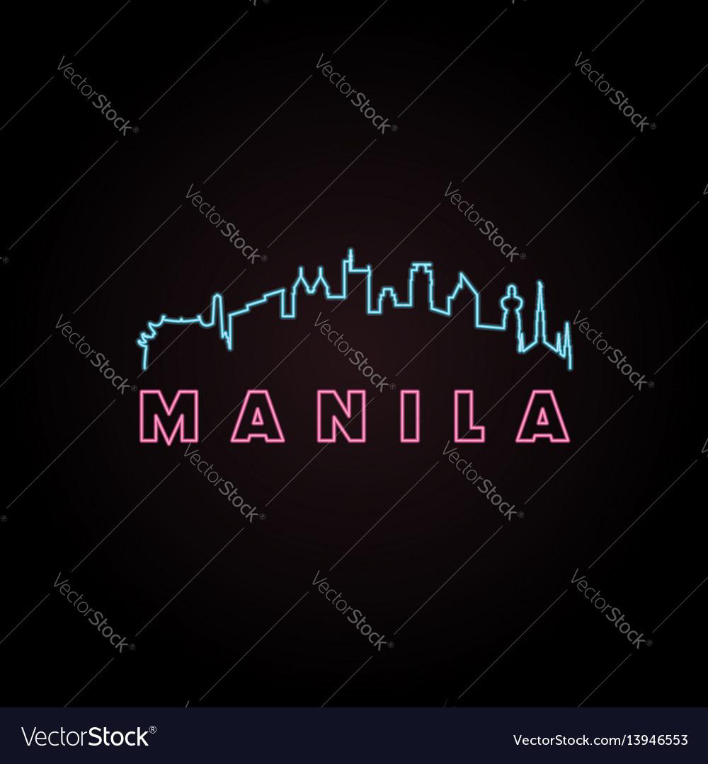 Manila skyline neon style vector image
