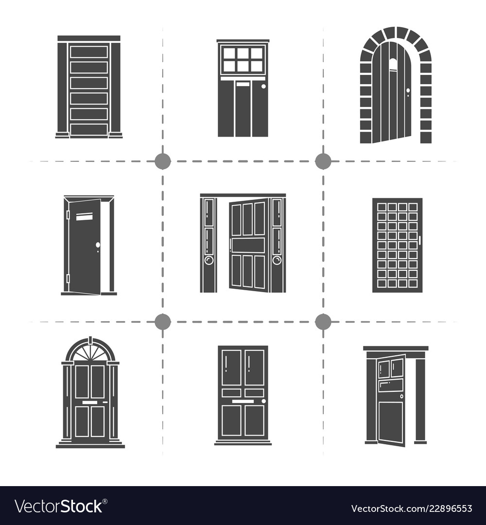 Open and closed door silhouettes icons set