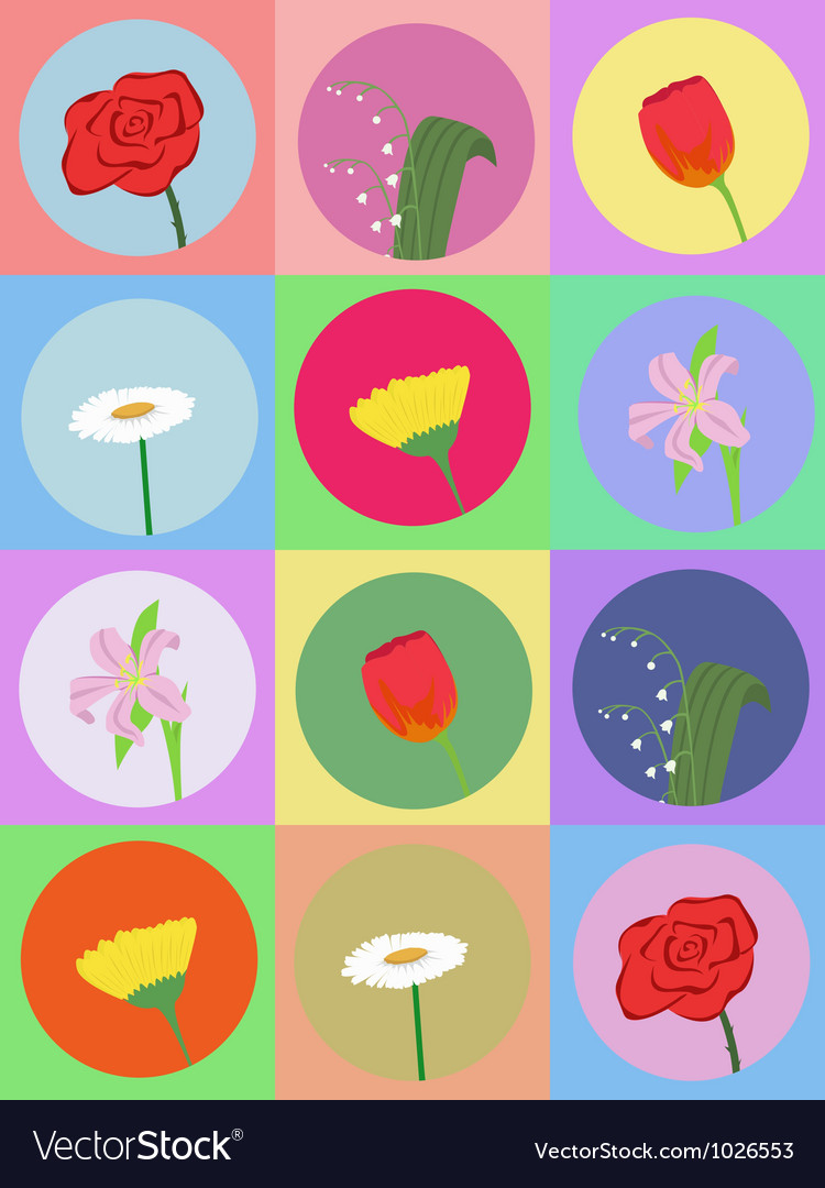 Seamless pattern with cartoon flowers 2 vector image