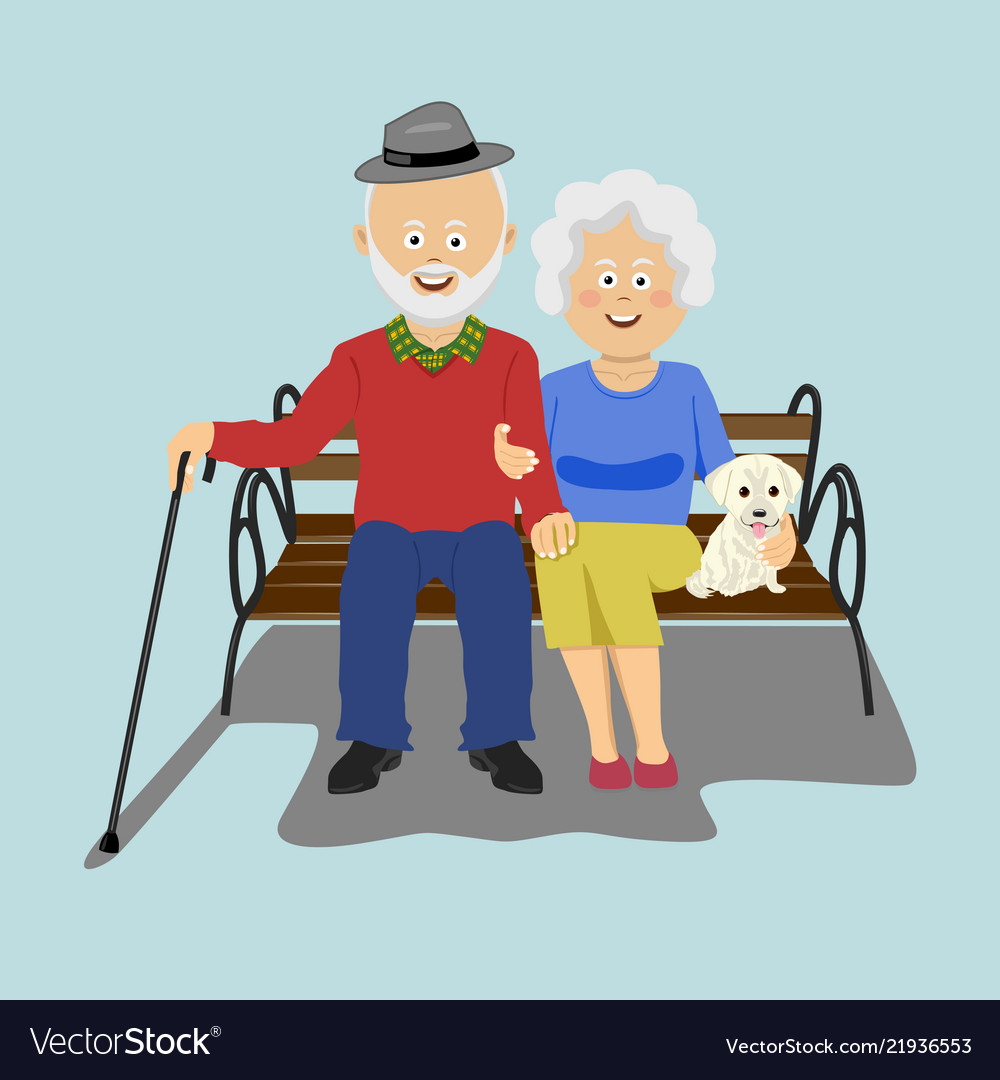 Senior couple sitting on the bench with puppy