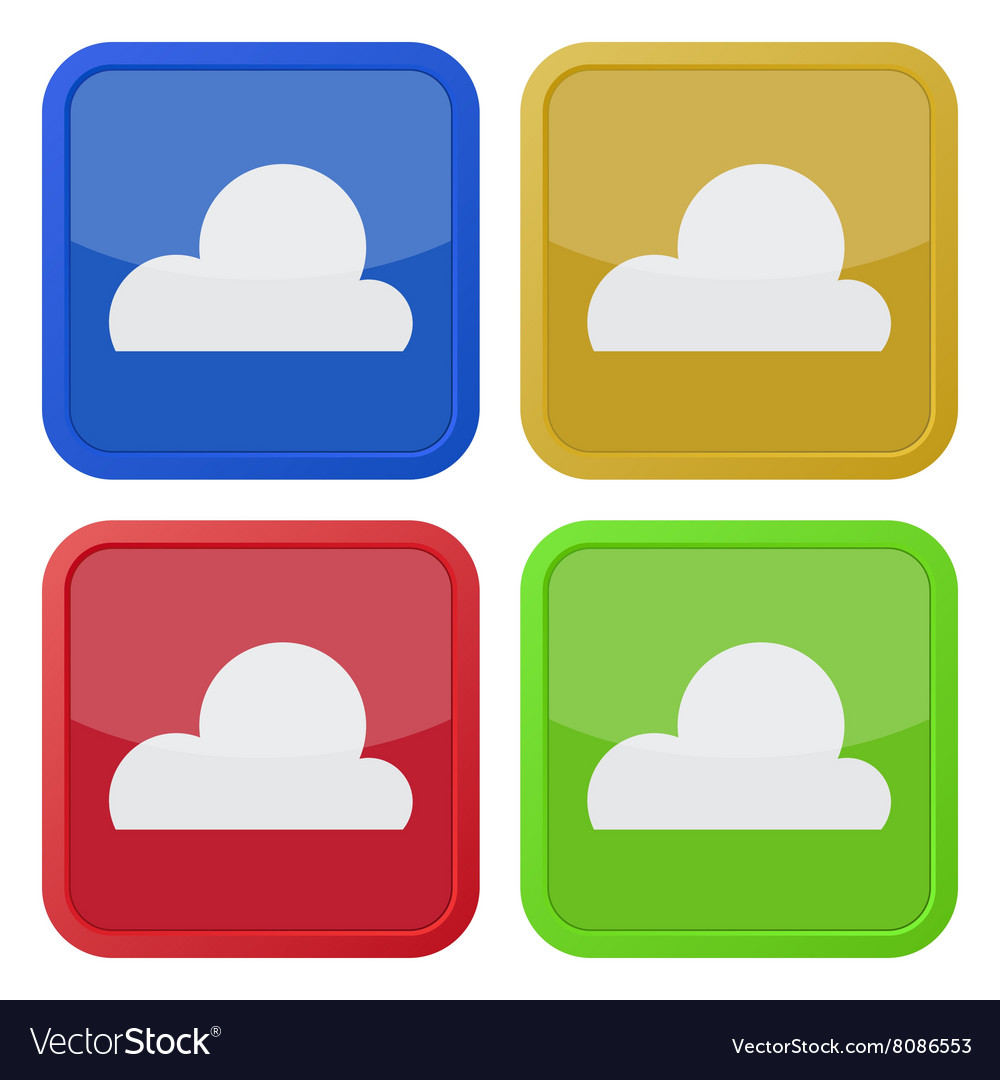 Set of four square icons with cloud
