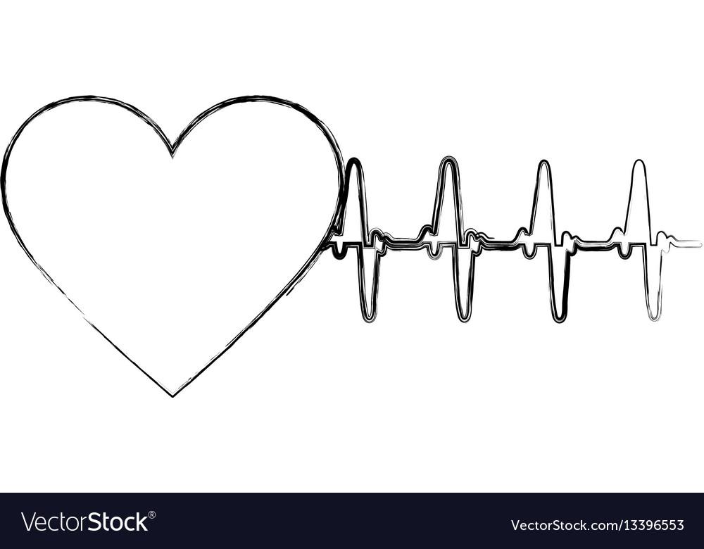 Silhouette sticker heartbeat icon