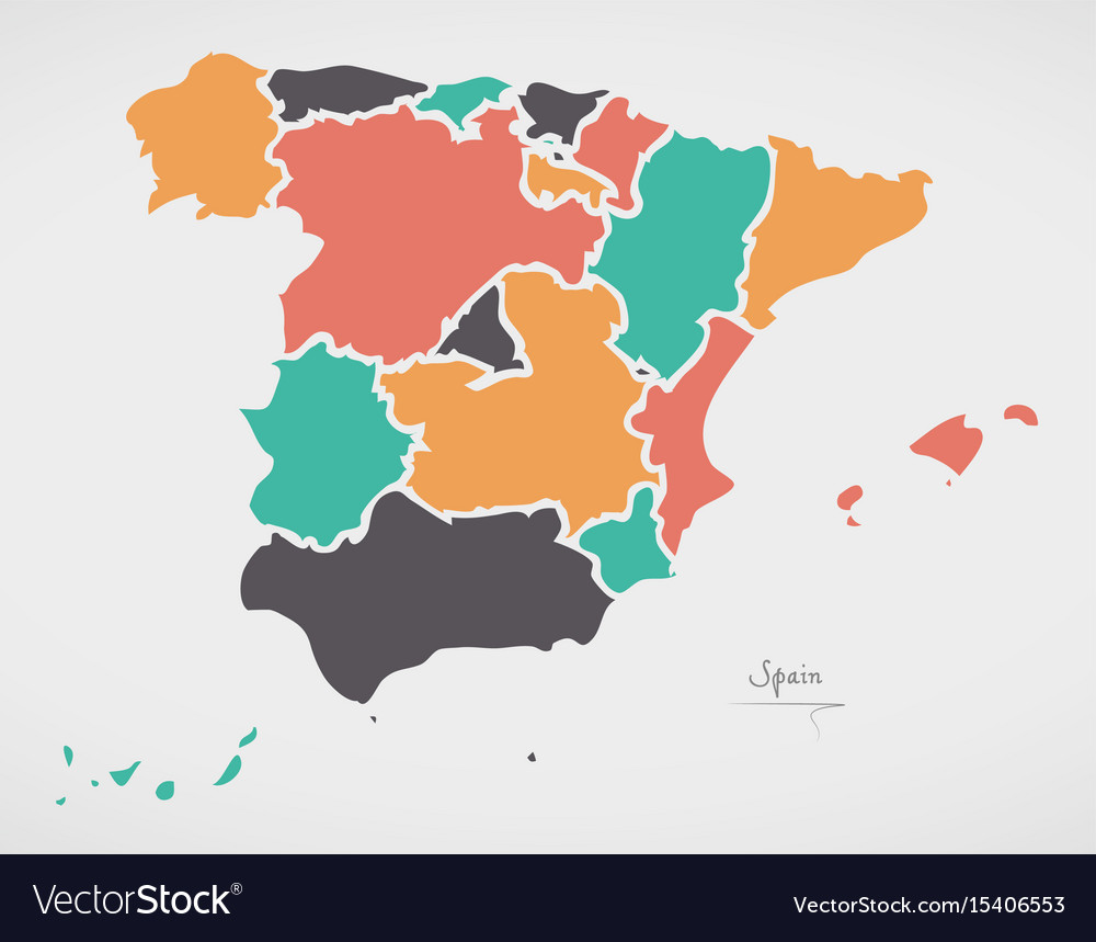 Map Of Spain With States.Spain Map With States And Modern Round Shapes