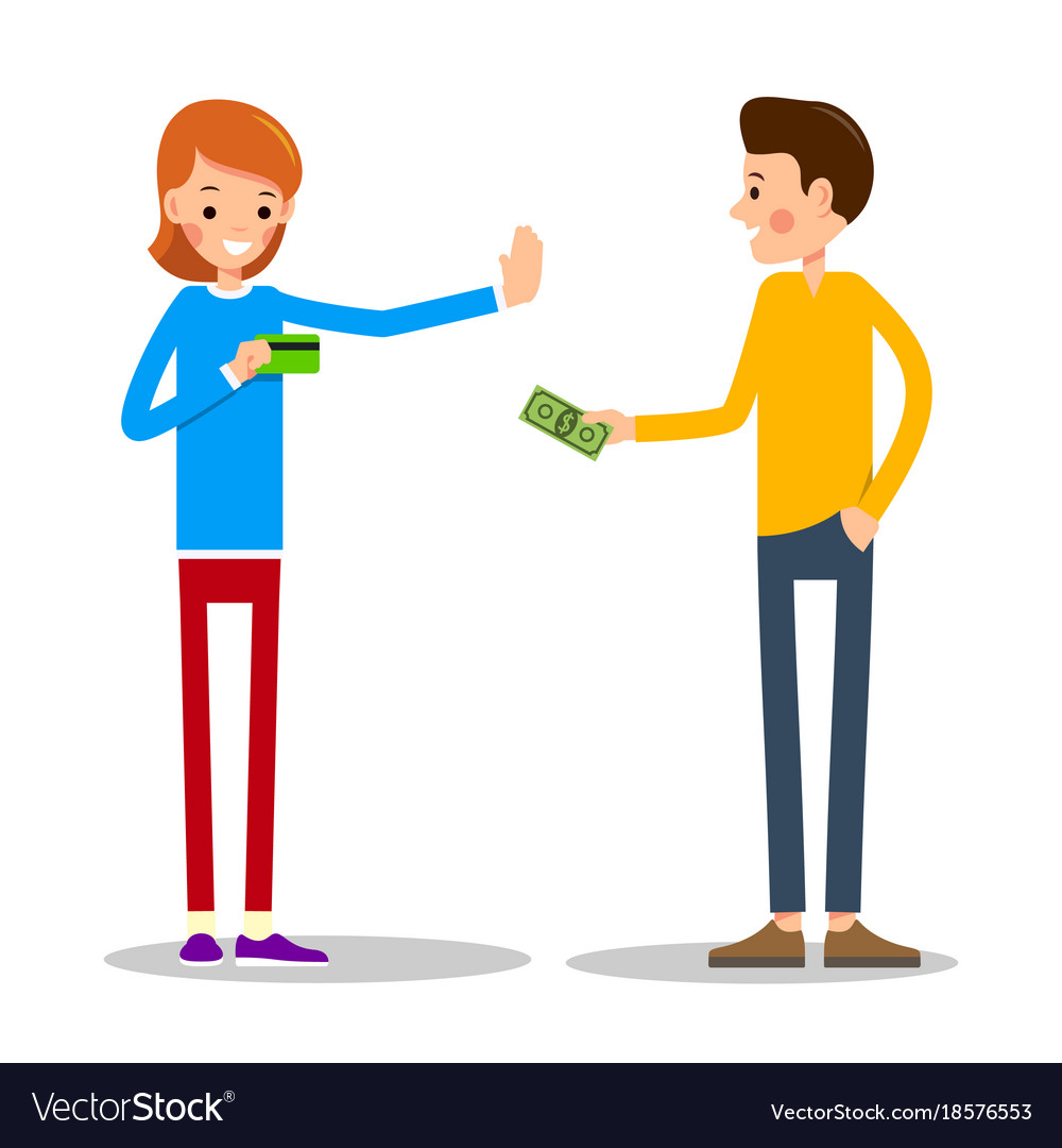 Young man wants to pay for the goods in cash