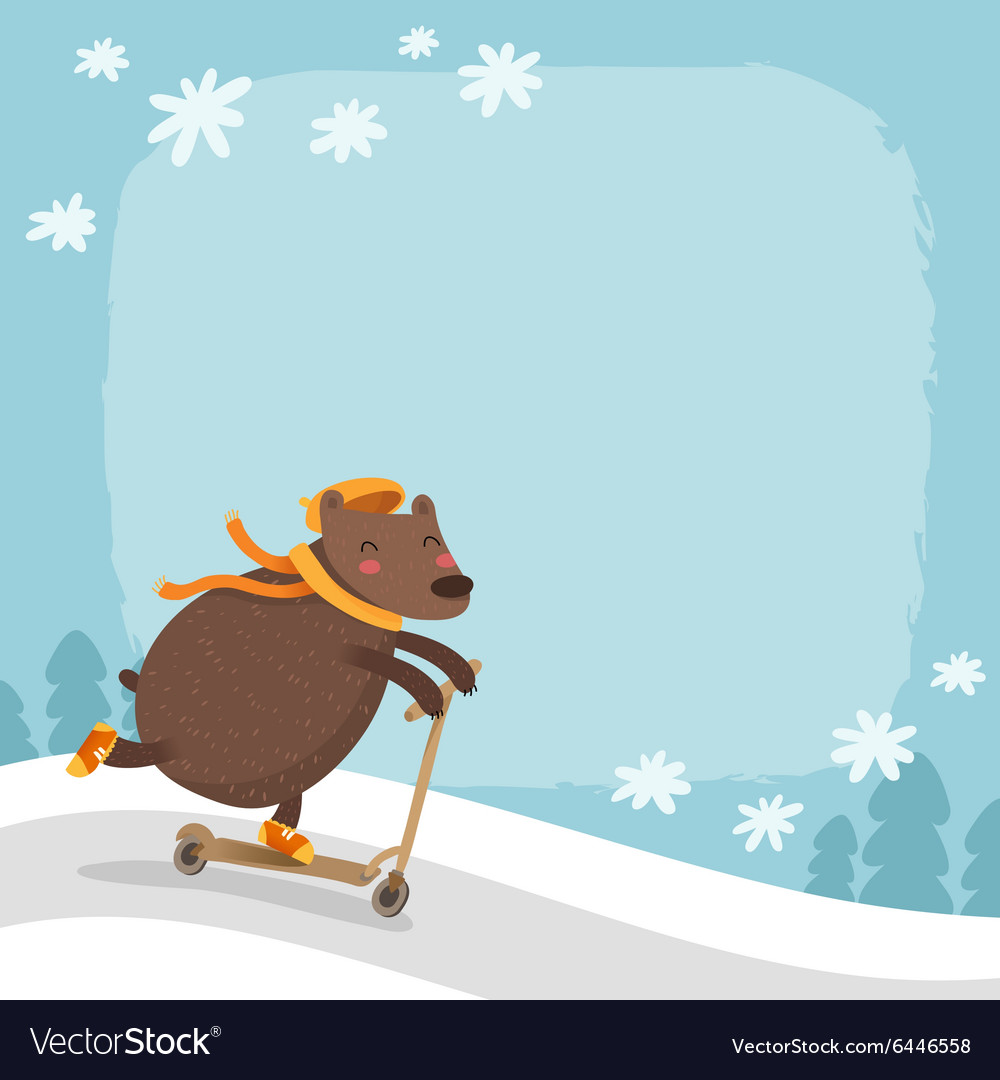 Bear riding a scooter winter background