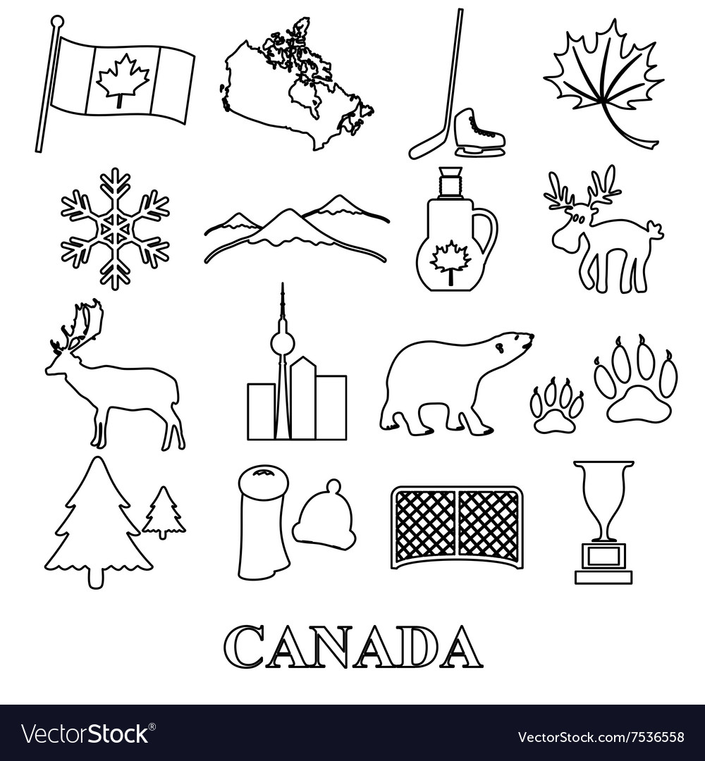Canada country theme symbols outline icons set