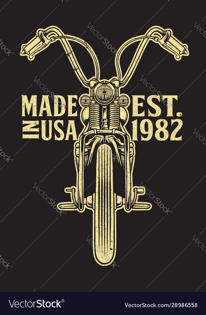 Chopper motorcycle emblem front view
