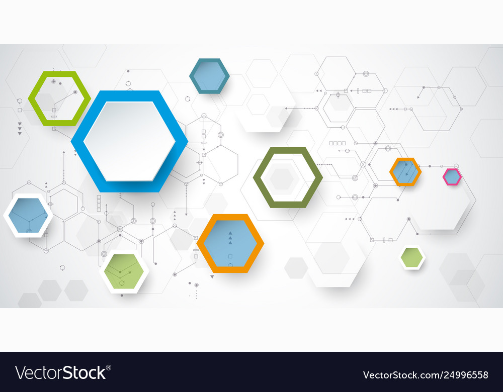 Circuit board and 3d paper hexagons background