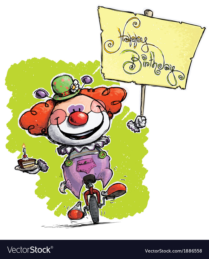 Clown on Unicle Hoding a Happy Birthday Plackard