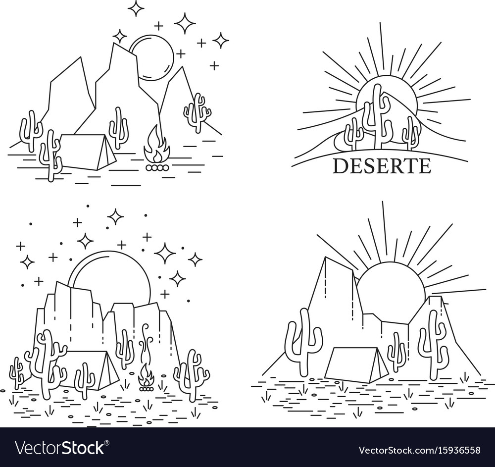 Dayly and nightly desert vector image