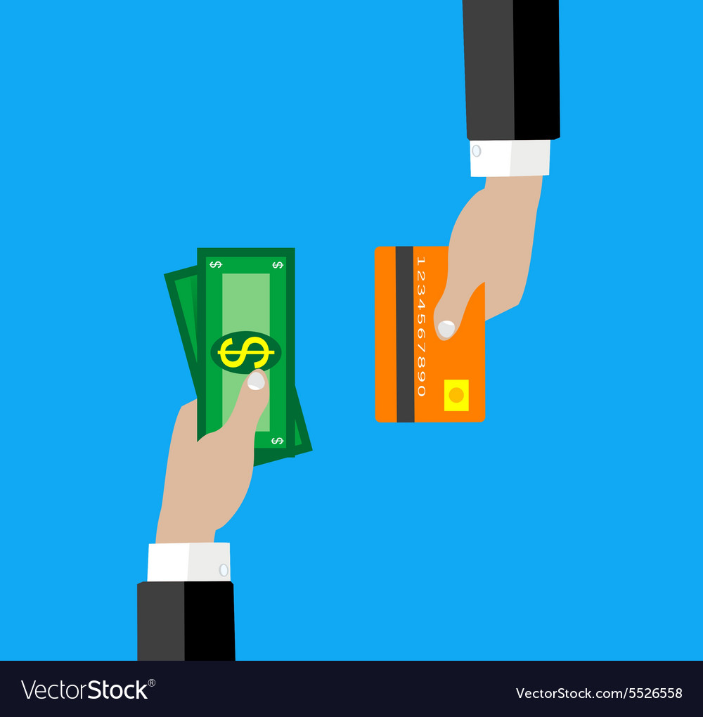 Hand with credit card and cash for your design vector image