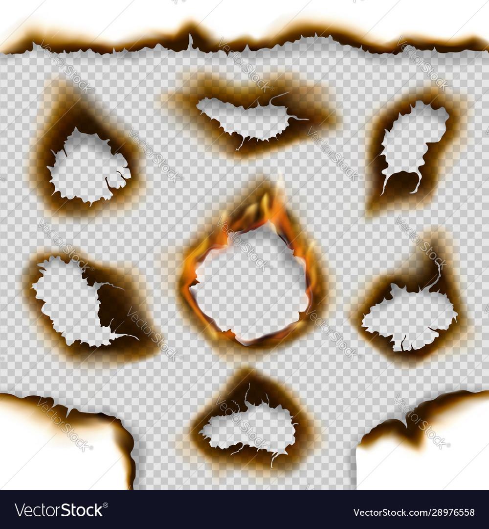 Holes burnt paper with fire flames ash cracks