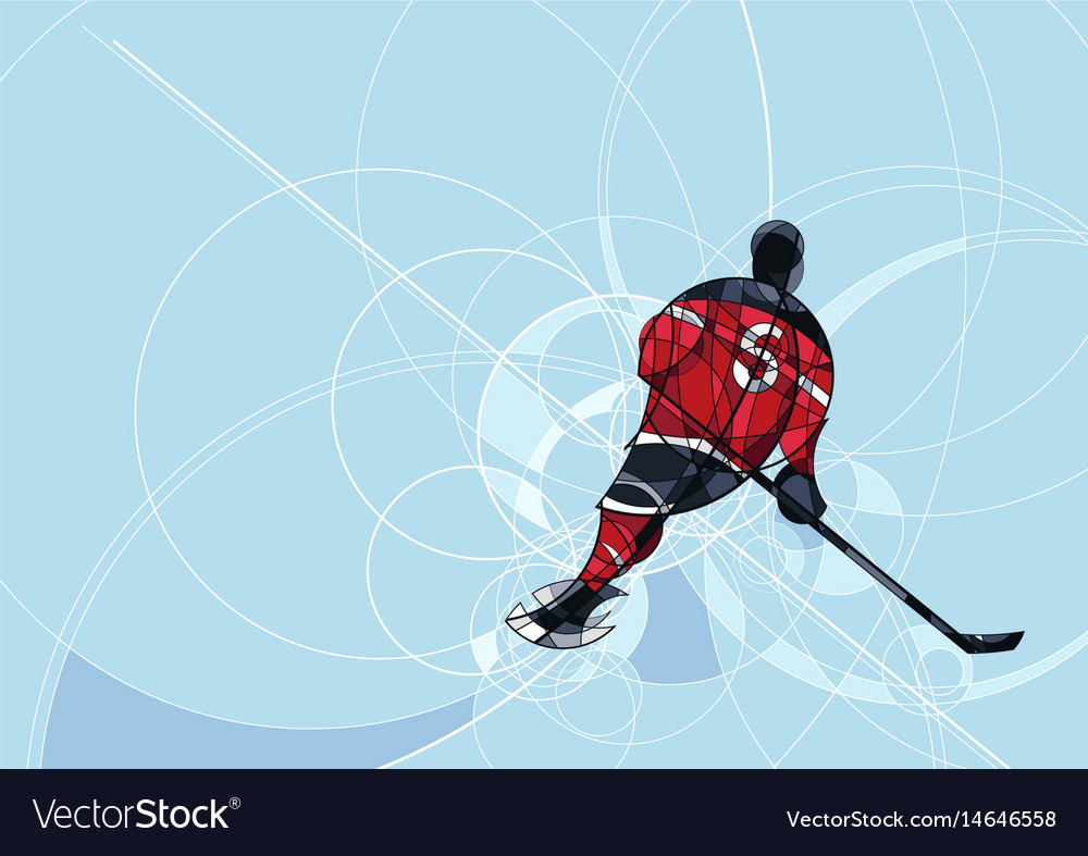 Ice hockey player in red and black dress