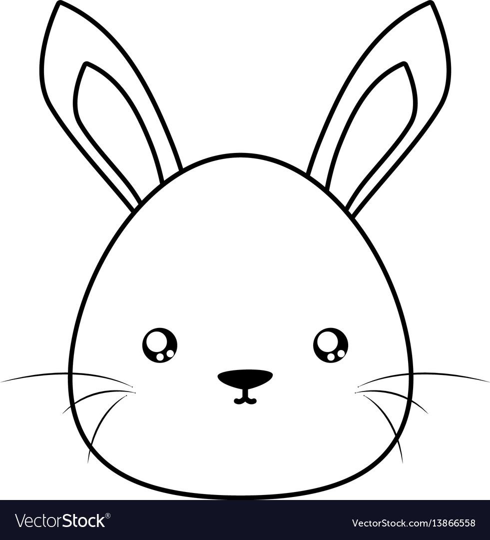 Rabbit drawing face Royalty Free Vector Image - VectorStock