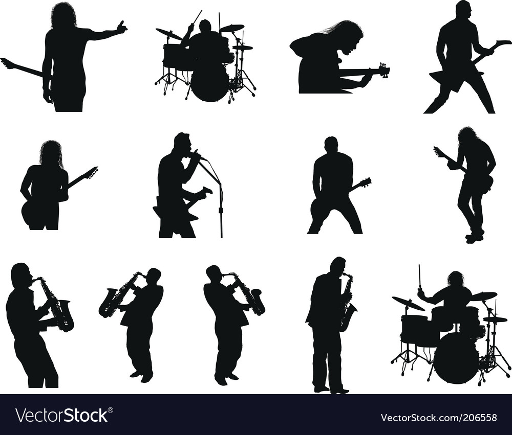 Rock and jazz silhouettes