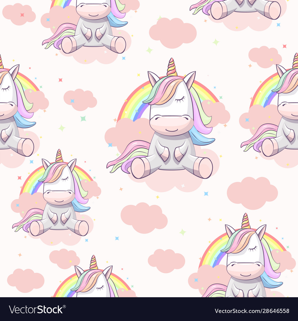 Seamless pattern with unicorn on clouds