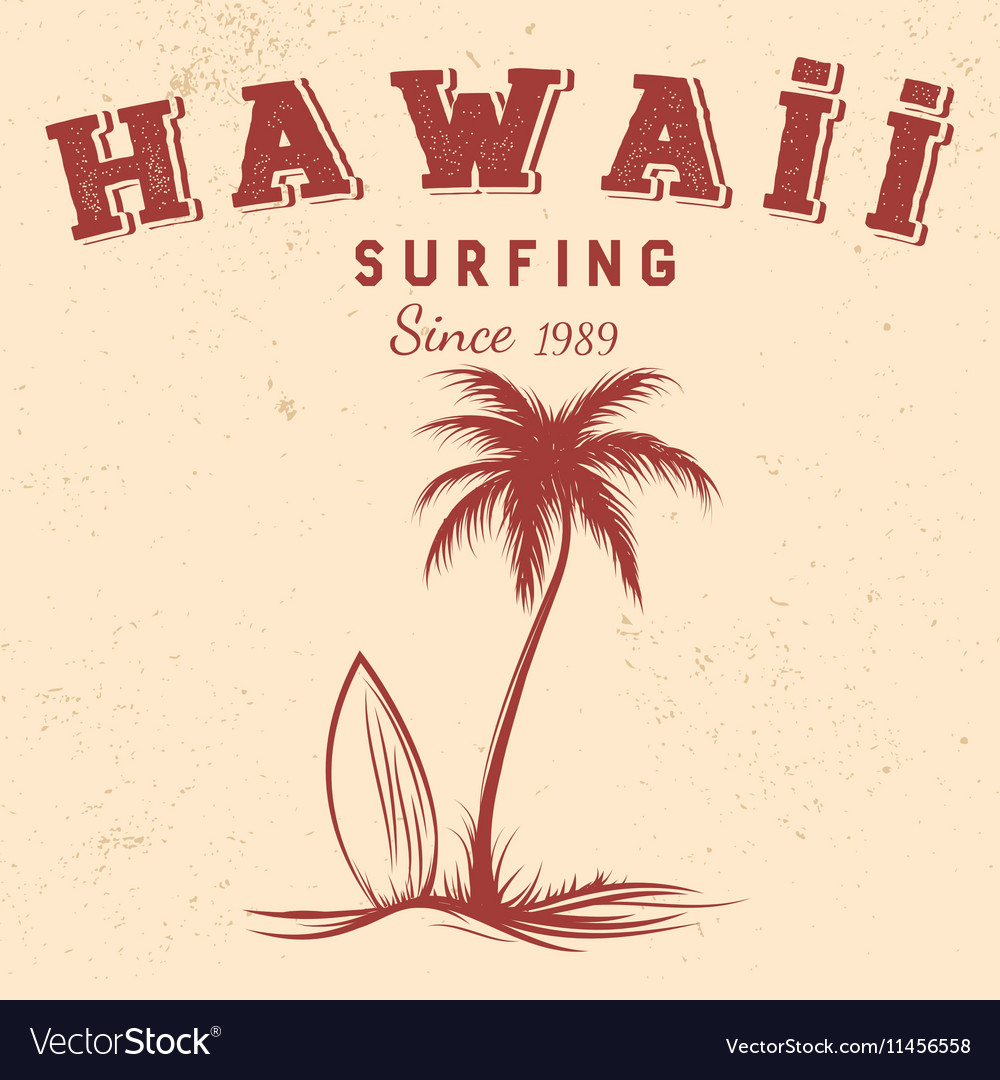 Silhouette palm and surfboard with text hawaii