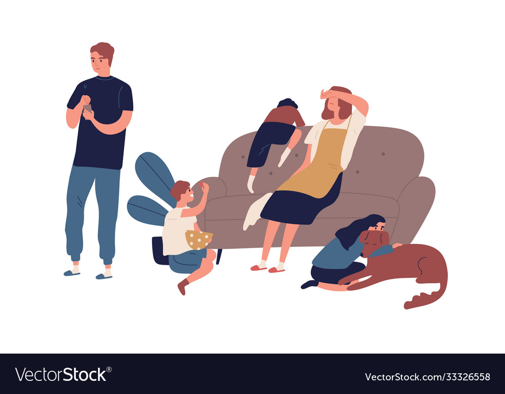 Tired mother having many children sitting on couch