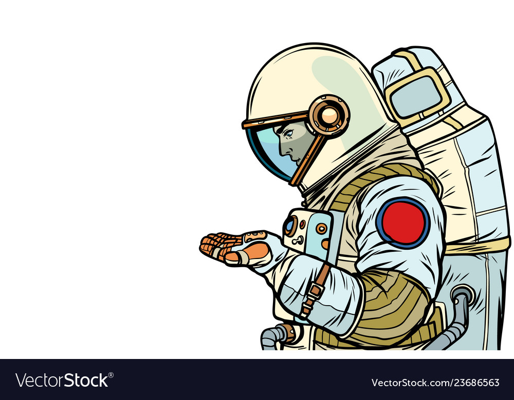 Astronaut with an empty palm