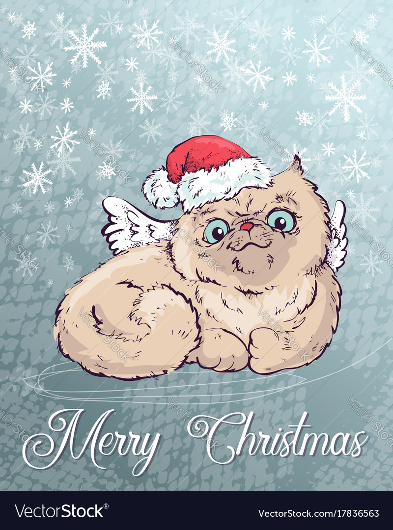 Christmas poster with cat portrait in red santa s