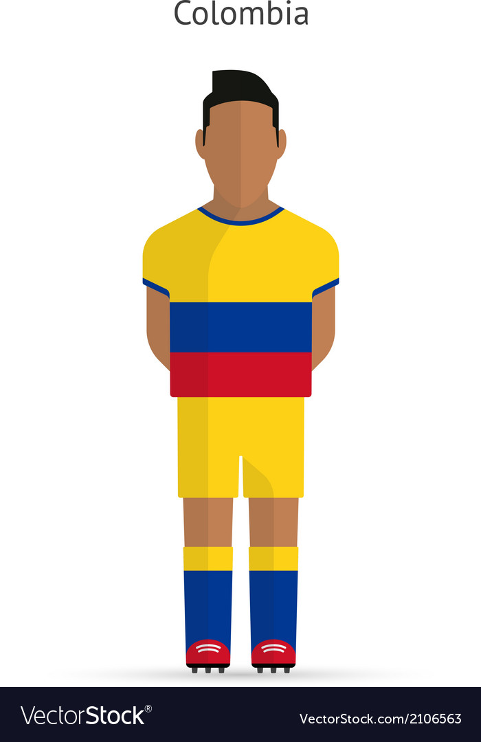Colombia football player Soccer uniform Royalty Free Vector f2e3833ec