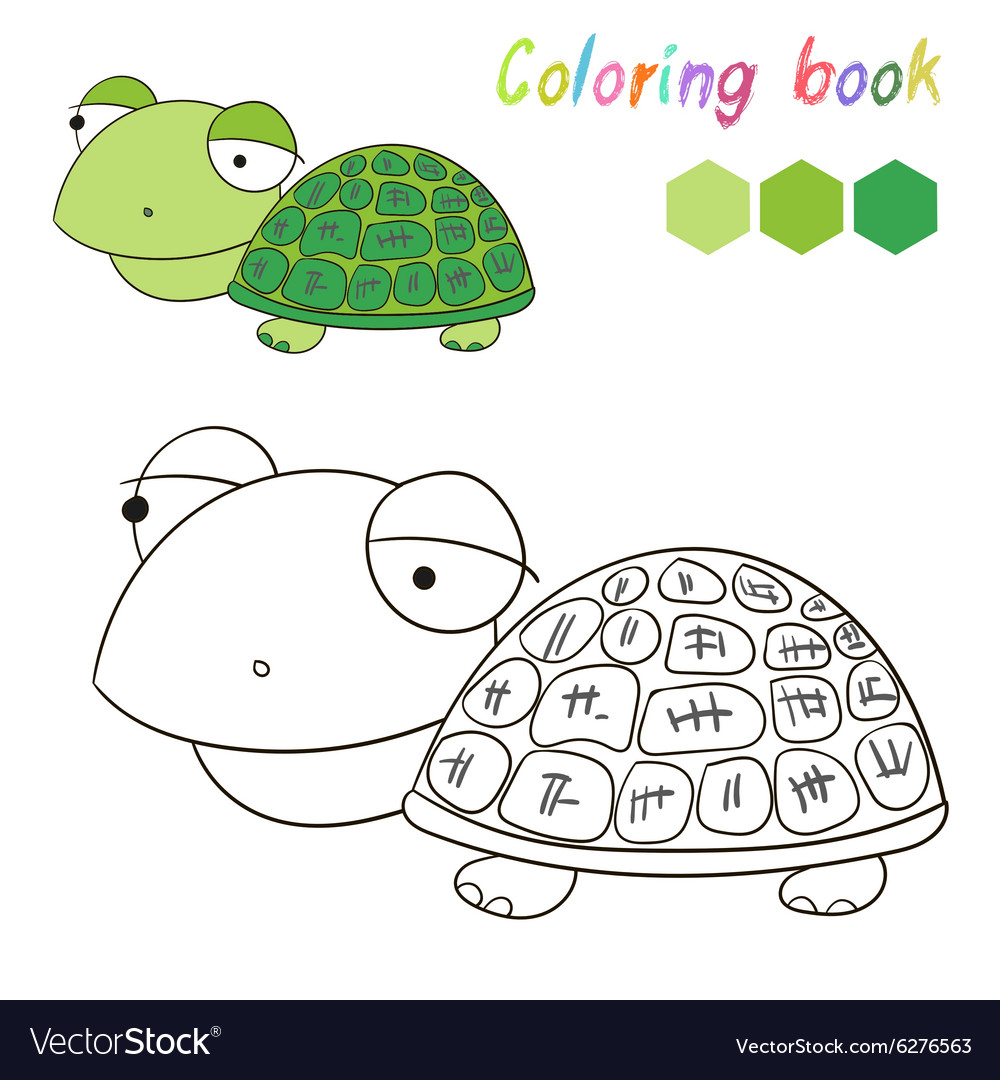 Coloring book turtle kids layout for game vector image