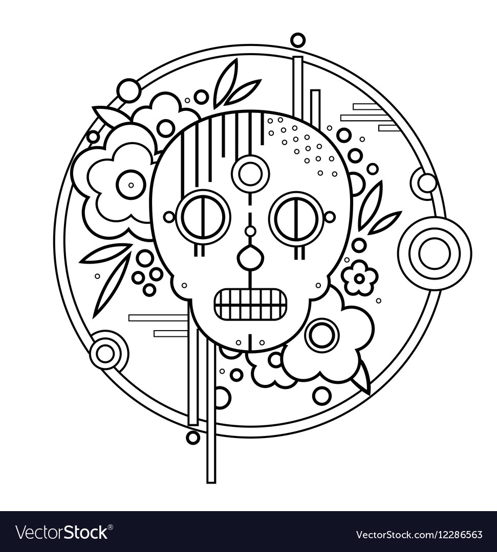Geometric skull with flowers in circle Black vector image