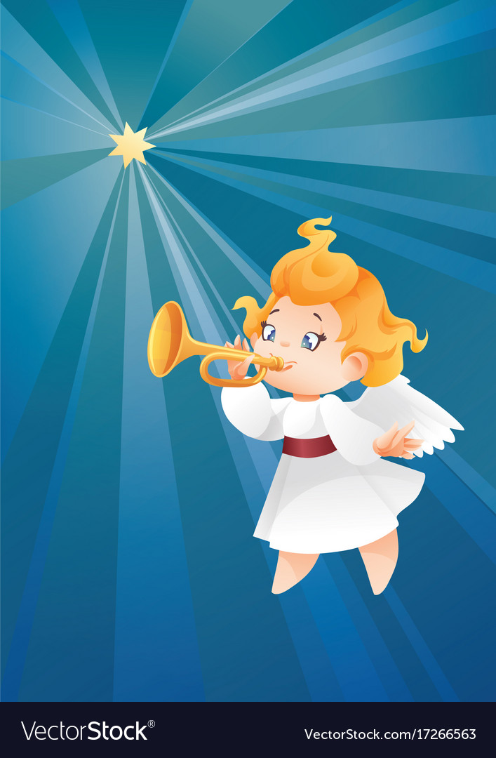 Kid angel musician flying on a night sky makin vector image