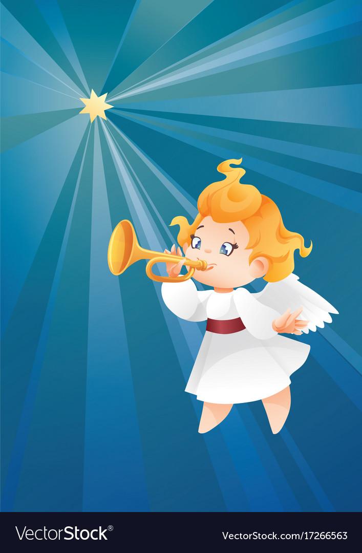Kid angel musician flying on a night sky makin