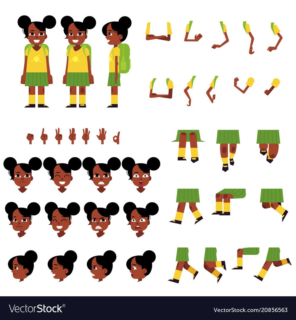 Little african schoolgirl creation set - cartoon