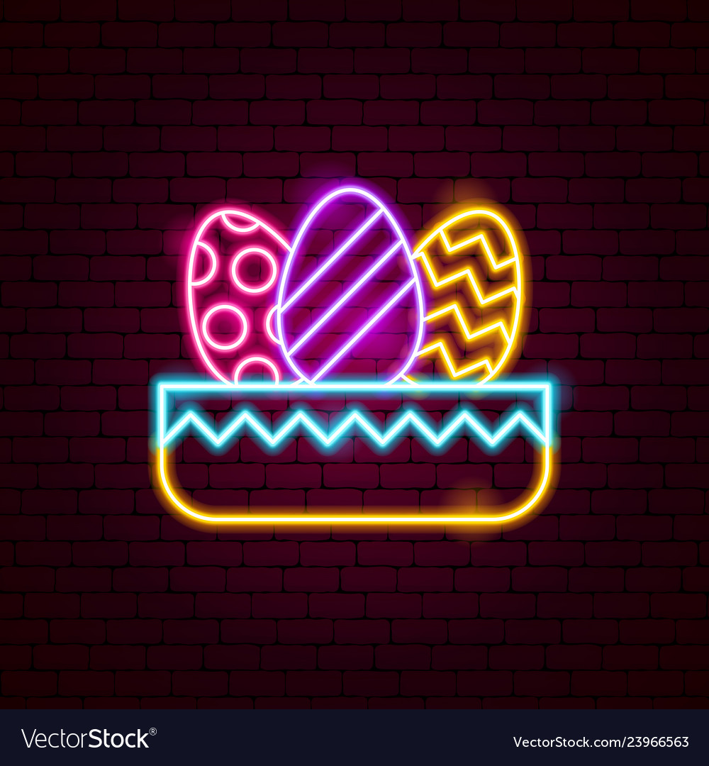 Nest with eggs neon sign
