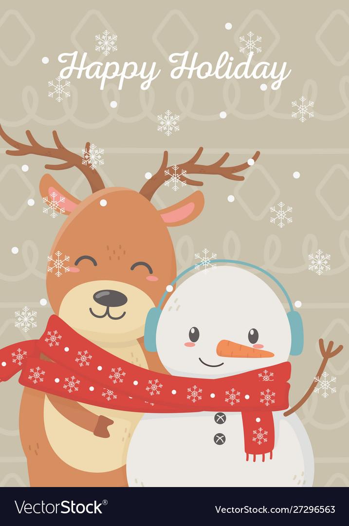 Snowman reindeer celebration happy christmas card