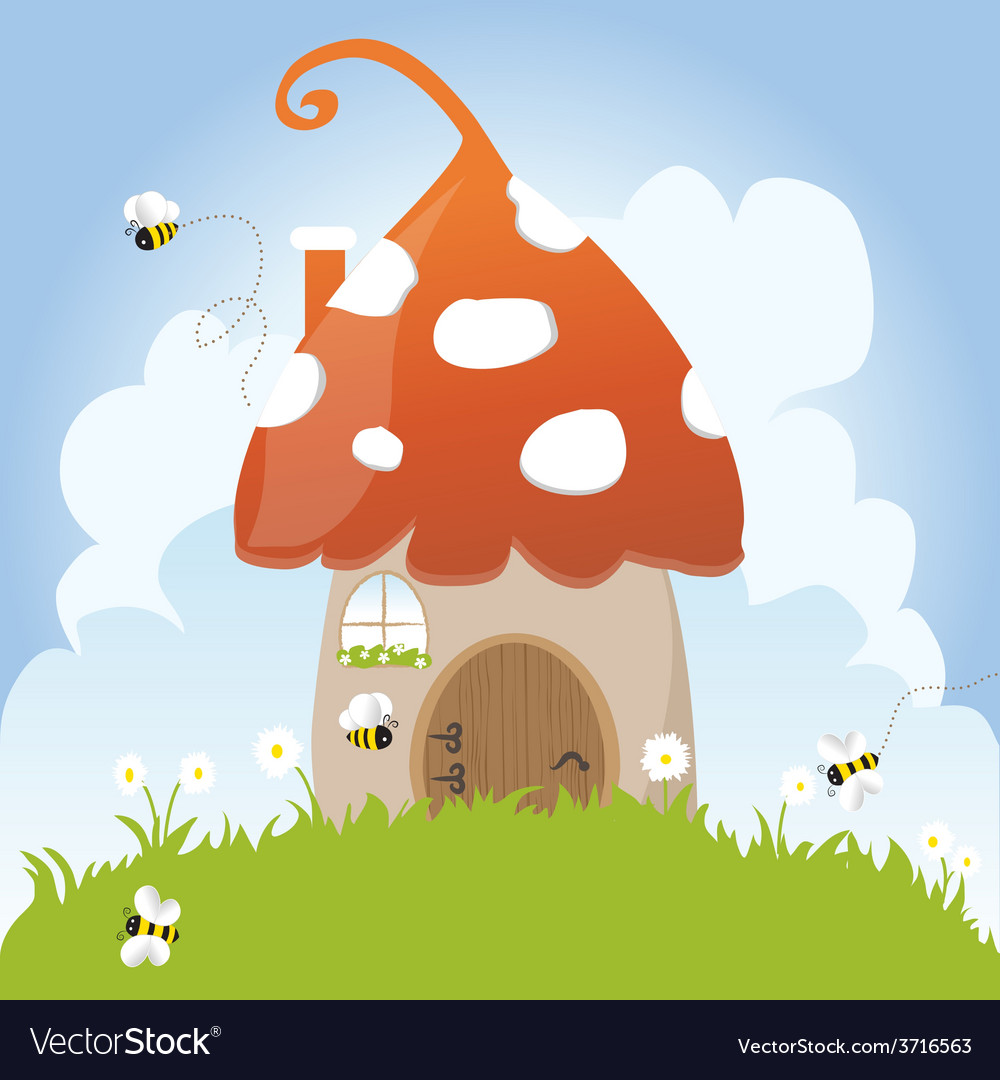Spring Bees House Mushroom Door Fairy Tale Clouds